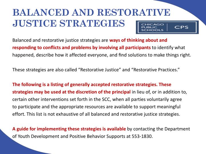 BALANCED AND RESTORATIVE JUSTICE STRATEGIES