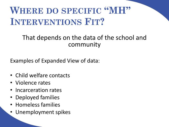 "Where do specific ""MH"" Interventions Fit?"