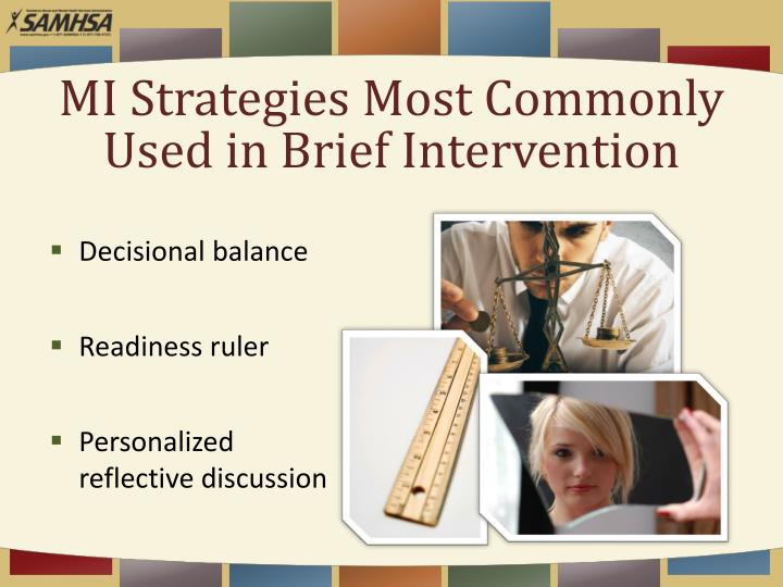 MI Strategies Most Commonly Used in Brief Intervention