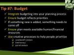 tip 7 budget