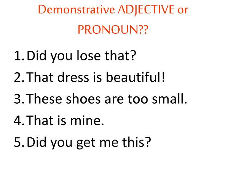 Demonstrative ADJECTIVE or PRONOUN??