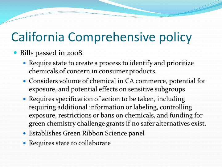 California Comprehensive policy