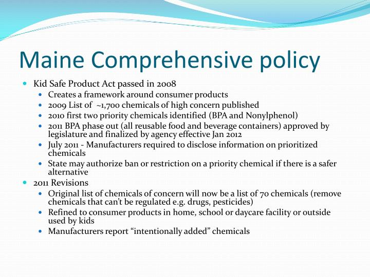 Maine Comprehensive policy