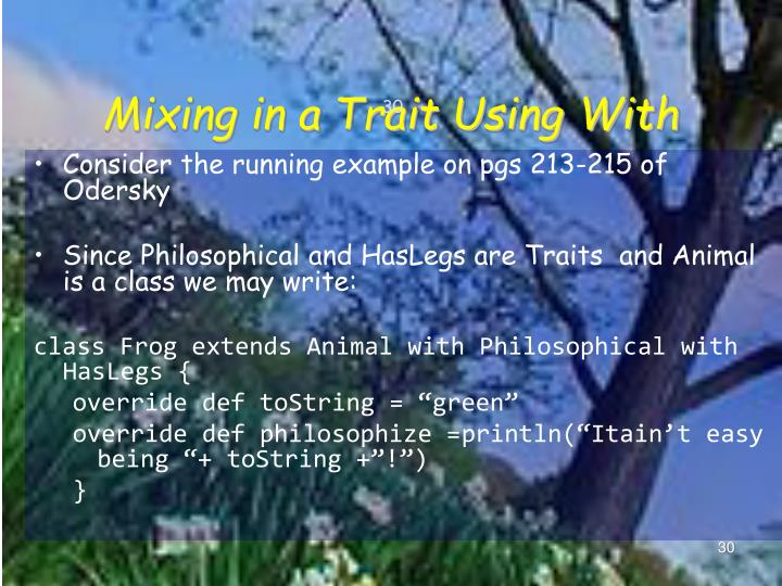 Mixing in a Trait Using With