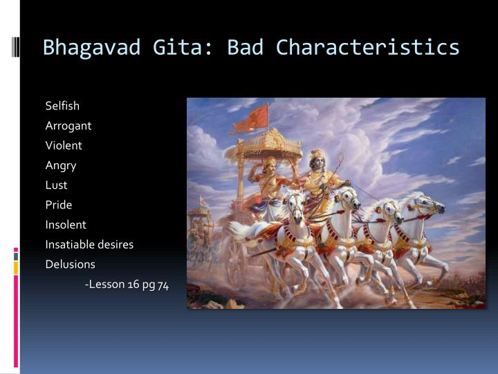 Bhagavad Gita: Bad Characteristics
