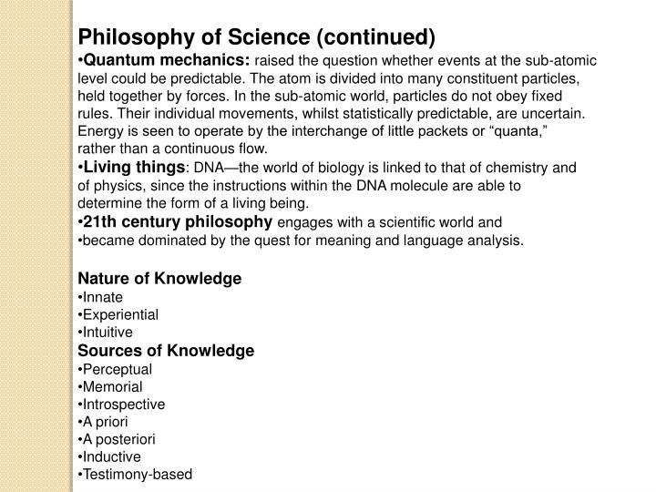 Philosophy of Science (continued)