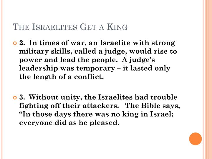 The Israelites Get a King