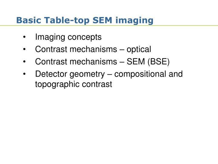 Basic table top sem imaging