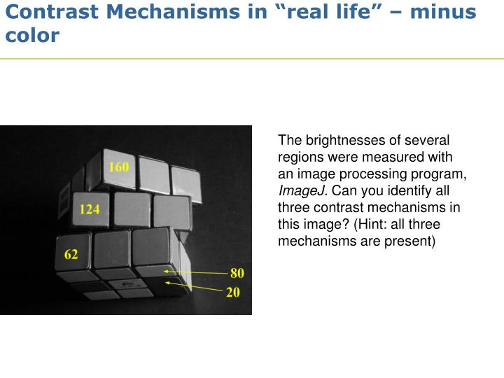 "Contrast Mechanisms in ""real life"" – minus color"