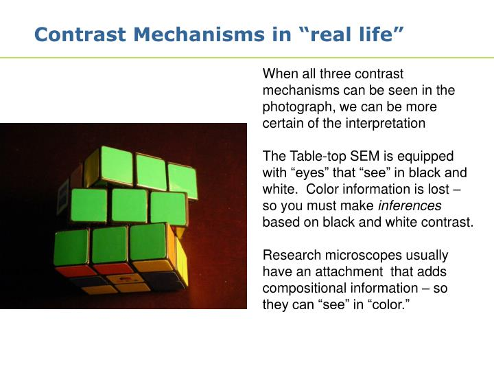"Contrast Mechanisms in ""real life"""