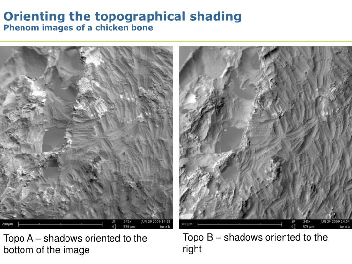 Orienting the topographical shading