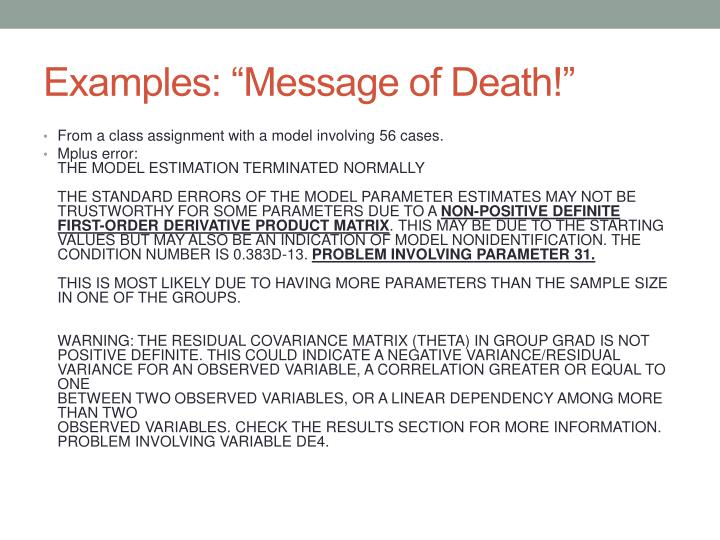 "Examples: ""Message of Death!"""