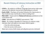 recent history of literacy instruction at bsd