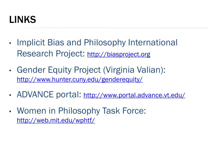 Implicit Bias and Philosophy International Research Project: