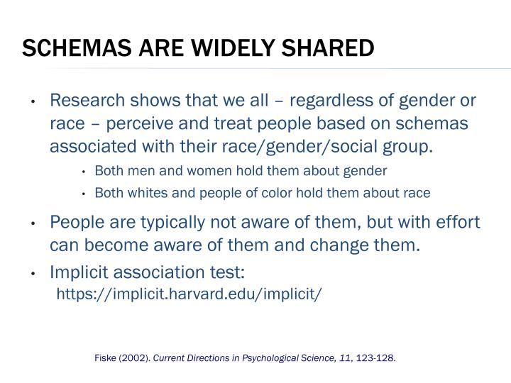 Research shows that we all – regardless of gender or race – perceive and treat people based on schemas associated with their race/gender/social group.
