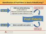 identification of frail elders in need of medicaring