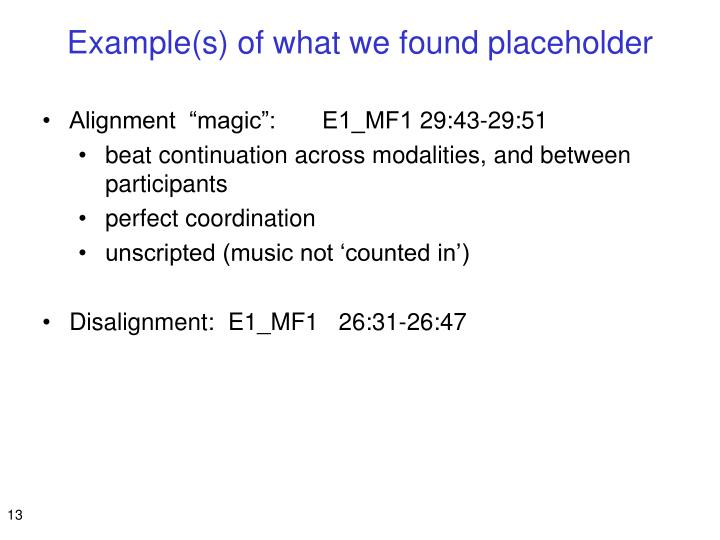 Example(s) of what we found placeholder