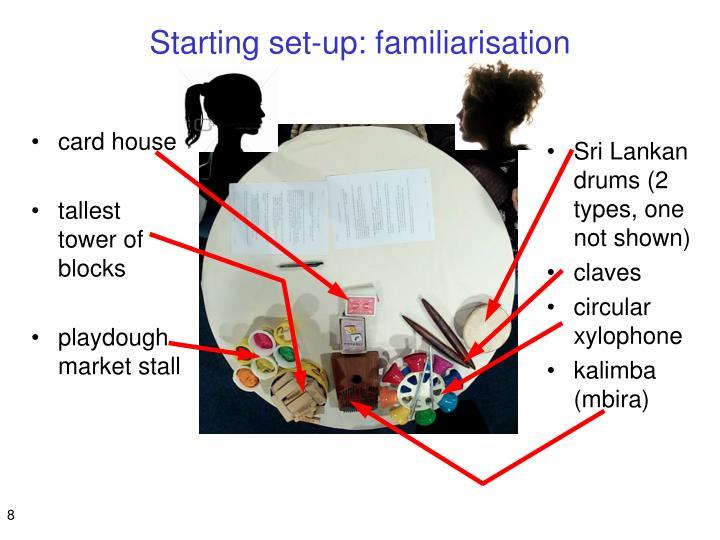 Starting set-up: familiarisation