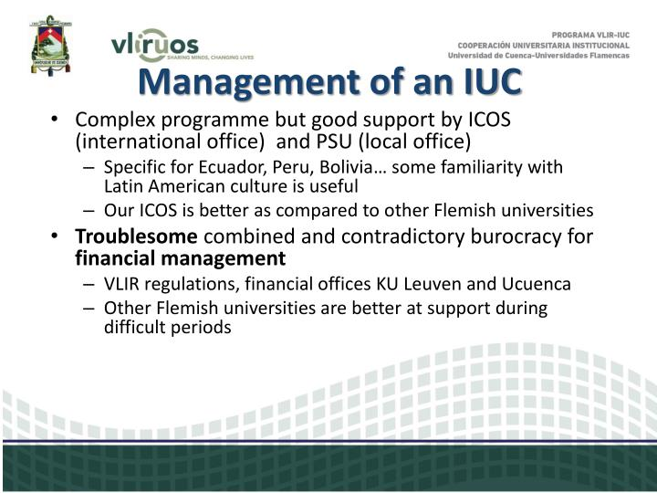 Management of an IUC