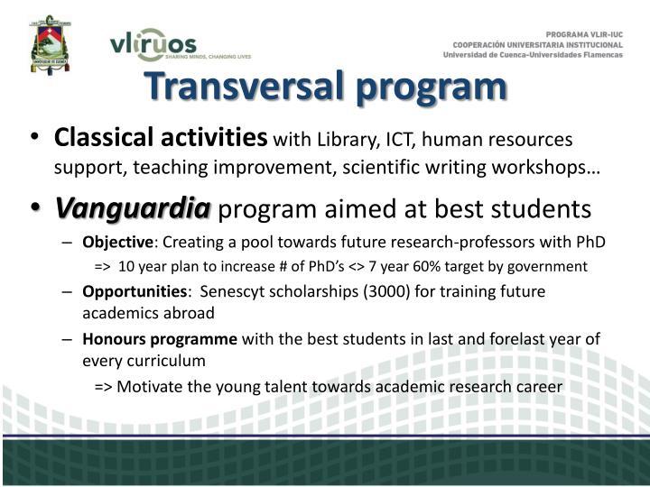Transversal program