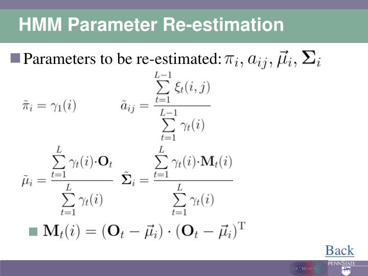 HMM Parameter Re-estimation