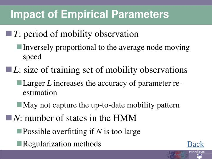 Impact of Empirical Parameters