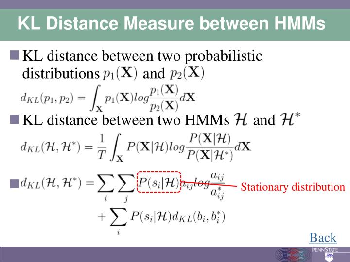 KL Distance Measure between HMMs
