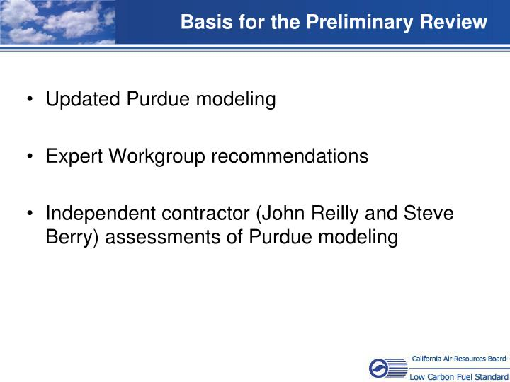 Basis for the Preliminary Review