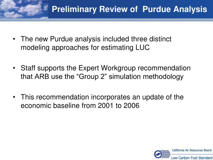 Preliminary Review of  Purdue Analysis