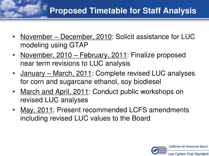 Proposed Timetable for Staff Analysis