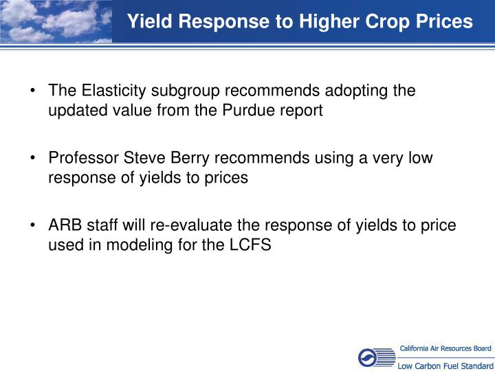 Yield Response to Higher Crop Prices