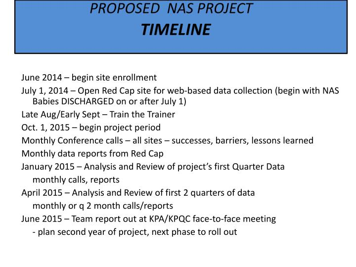 PROPOSED  NAS PROJECT