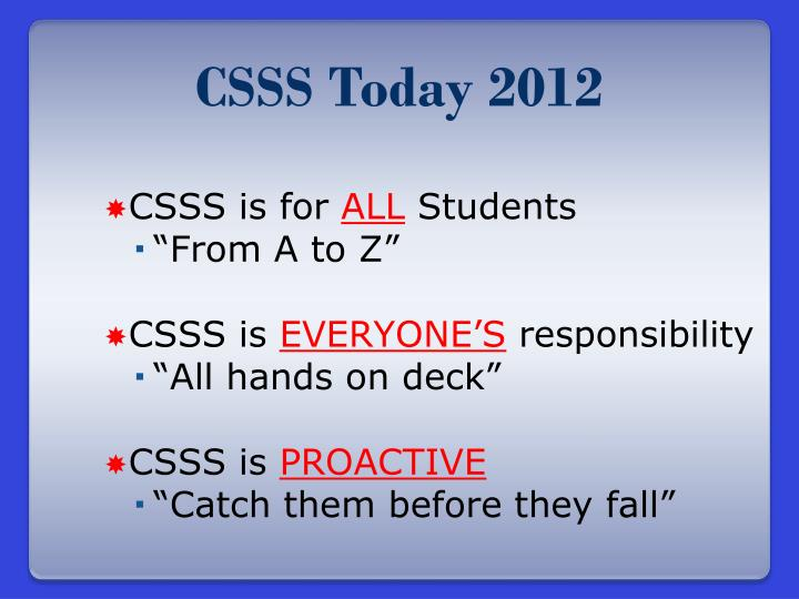 CSSS Today 2012