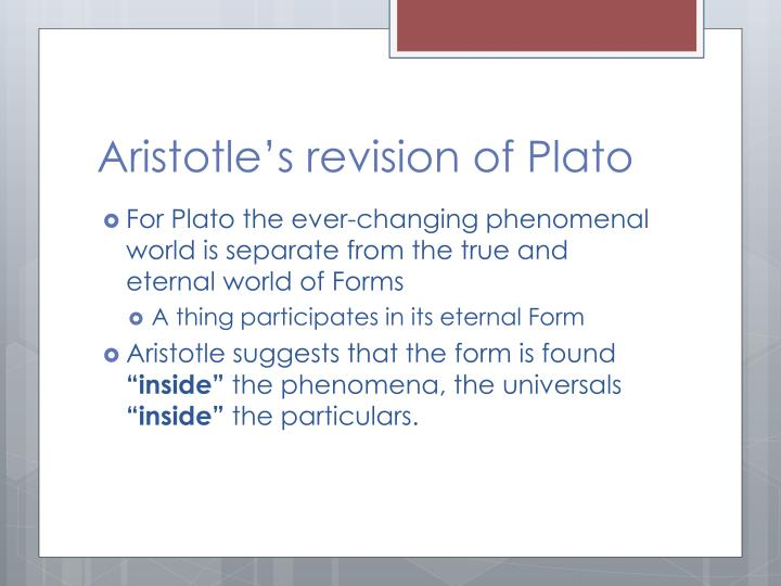 Aristotle's revision of Plato