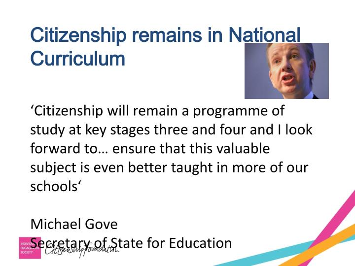 Citizenship remains in National Curriculum