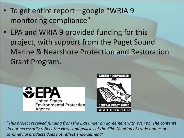 "To get entire report—google ""WRIA 9 monitoring compliance"""