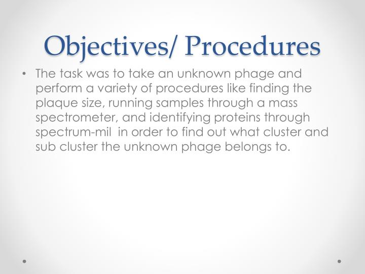 Objectives procedures