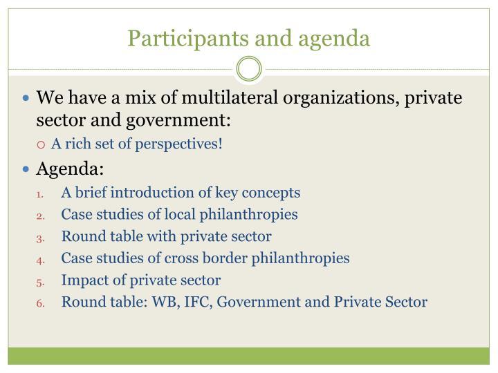 Participants and agenda