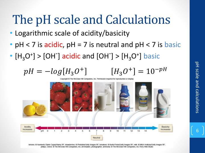 The pH scale and Calculations