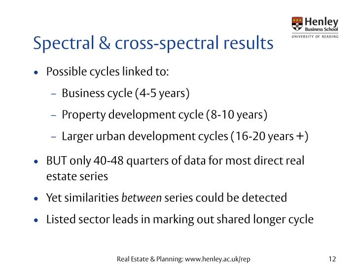 Spectral & cross-spectral results