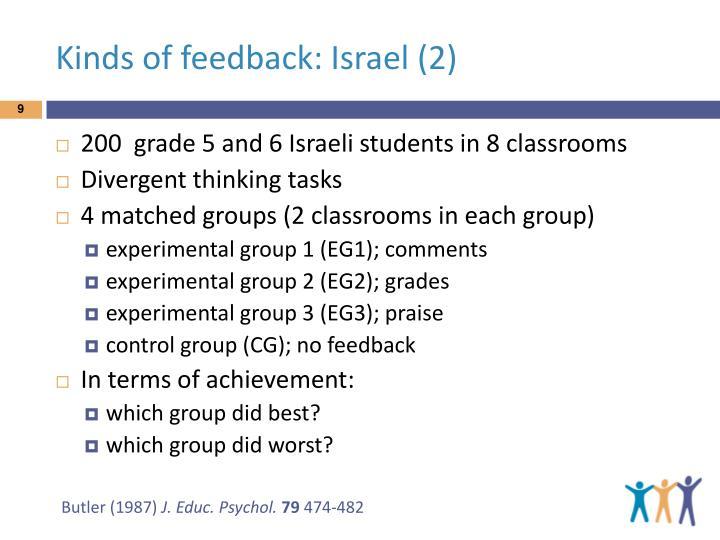 Kinds of feedback: Israel (2)