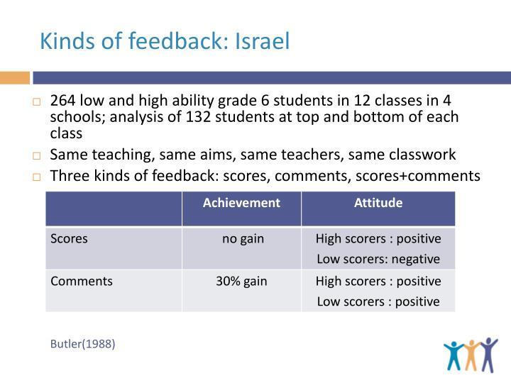 Kinds of feedback: Israel