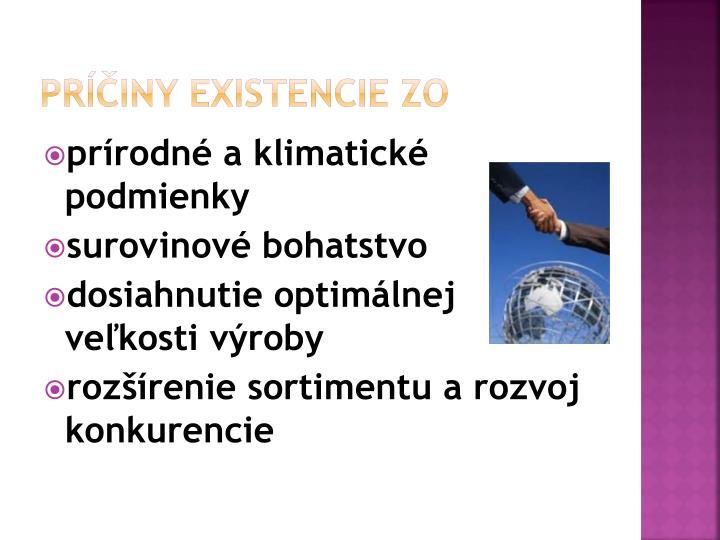 Príčiny existencie ZO