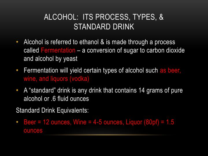 Alcohol:  its process, types, &