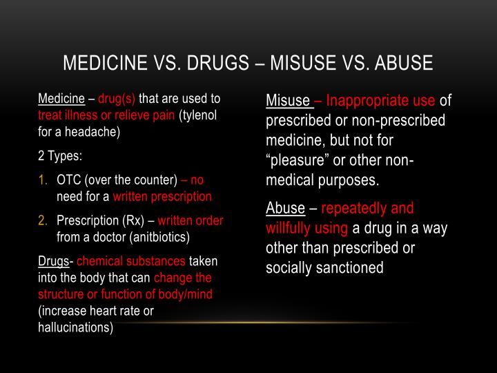 Medicine vs. Drugs – misuse vs. abuse