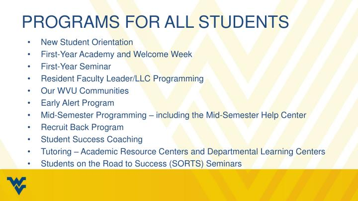 Programs for all students