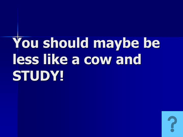You should maybe be less like a cow and STUDY!