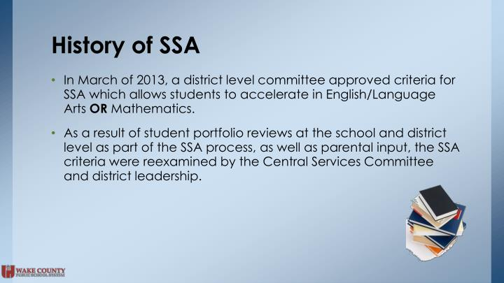 History of SSA