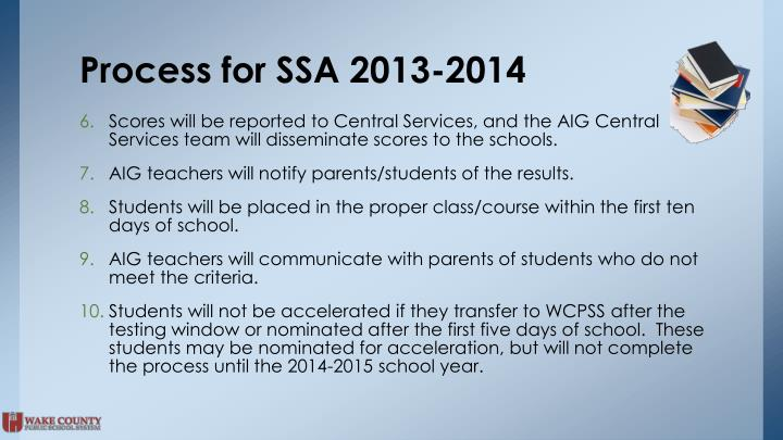 Process for SSA 2013-2014