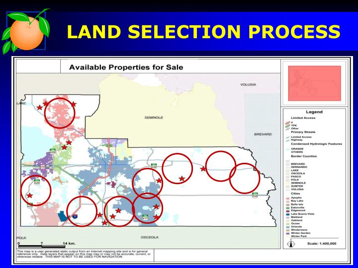 LAND SELECTION PROCESS